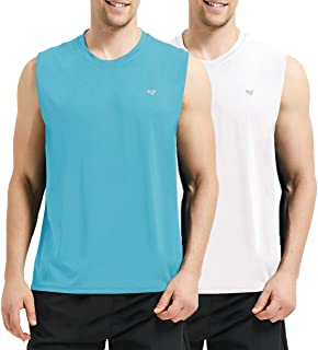 Roadbox Men's Performance Sleeveless Tank Tops Workout Muscle Bodybuilding Shirts Athletic Running Quick-Dry T-Shirts 2 Pack