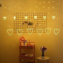 Hancoc String Lights LED Hart Vorm 6 Grote 6 Kleine String Lights Gordijn Licht, Fairy String Light, Sterrenlichtketting, ...