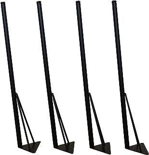マメてりあ アイアンレッグ 角度付き 丸タイプ 鉄脚 DIY テーブル脚 4本セット ツヤ消し黒(マッドブラック) カット サイズ オーダー 可能 アンティーク ビンテージ 黒 ブラック (標準サイズ72cm)