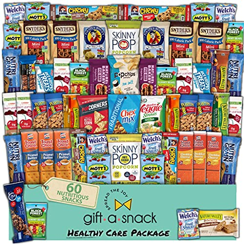 Valentines Day Candy Gift Basket for Kids Healthy Snack Box Variety Pack (60 Count) - College Student Care Package, Natural Food Bars Nut Fruit, Nutritious Chips - Birthday Treat for Her, Him, Adults