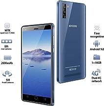 Moviles Libres 4G, 16GB ROM Android 9.0 5MP+8MP, 5.0 Pulgadas Smartphone Libre Dual SIM, 3400mAh Quad Core Face ID Moviles Buenos (2 x Micro SIM +1 MicroSD-Azul