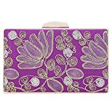 Fawziya Embroidery Wedding Clutch Satin Sequin Evening Bags And Clutches For Women-Purple