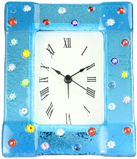 Amazon Com Table Alarm Clock Blue With Millefiori Original Murano Glass Watch Home Kitchen