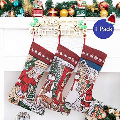 Beyond Your Thoughts Nikolausstrumpf Weihnachtsstrumpf Deko Kamin Kreuzstich Christmas Stockings Nikolausstiefel zum befüllen und aufhängen groß Ideale Weihnachtsdekoration Weihnachtsmann