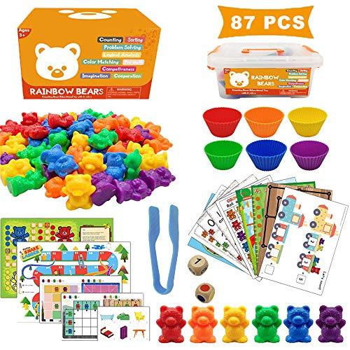 Ucradle 87 Stück Montessori Mathematik Spielzeug - Zählen und Rechnen, 6 Farben Cartoon Bären Lernspielzeug mit 6 Passenden Tassen, 1 Große Pinzetten, 2 Würfel und 10+ Spielkarten für Kinder 3-6 Jahre