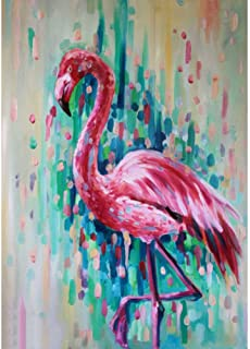 DIY 5D Diamond Painting by Number Kits, Painting Cross Stitch Full Drill Crystal Rhinestone Embroidery Pictures Arts Craft for Home Wall Decor Gift Colorful Flamingo (J4763-11.8X15.7in)