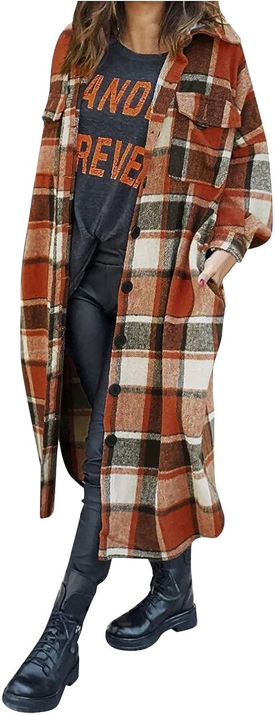 NIHOND Womens Long Shacket Jacket Tartan Ranking TOP16 San Jose Mall Button Oversized Down W