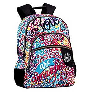 61Q5TMxtktL. SS300  - Montichelvo Montichelvo Double Backpack A.O. CG Amazing Bolsa Escolar, 30 cm, Multicolor (Multicolour)