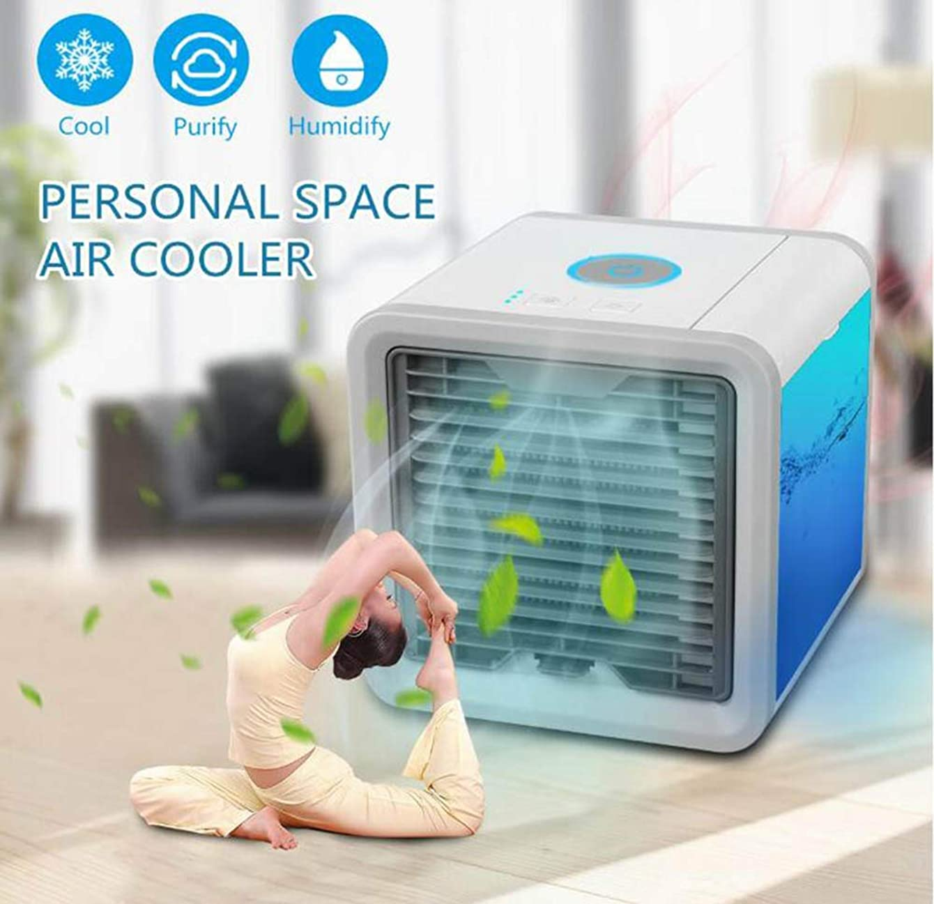 Air conditioning fan Mini USB Desktop, evaporative air Cooler, Portable 3-in-1 Water-Cooling, 3-Speed Adjustment, 7-Color Night Light