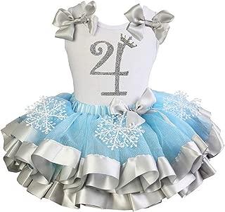 Girls Blue Silver Snowflake Satin Tutu Princess 4th Birthday Outfit