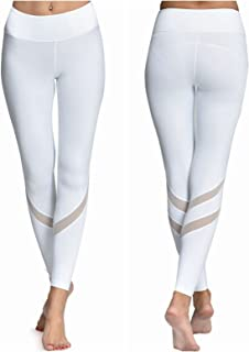 ONGASOFT Women's Yoga Pants Mesh Workout Leggings with Inner Pocket Yoga Tights
