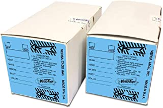 Blue (2) Two Pack - Genuine Versa-Tag Key Tags (2 Boxes of 250 Tags Per Box with Metal Rings - 500 Total)
