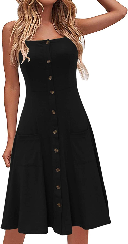Lyrur Womens Sundress Spaghetti Straps Button Down Knee Length Aline Casual Beach Summer Dresses with Pockets