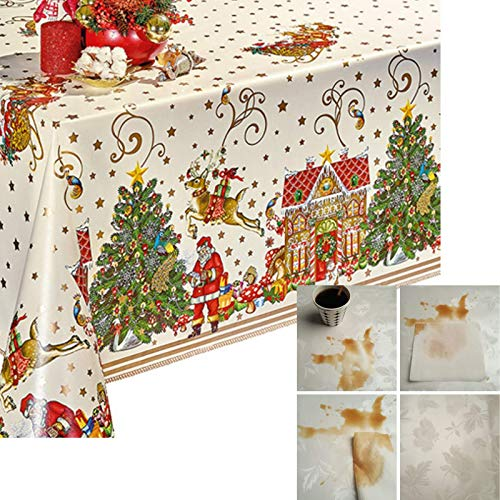 Decoser Heavy Duty Flannel Backed Vinyl Tablecloth with Flannel Backing Easy to Wipe-Clean Oilcloth Waterproof Plastic Rectangle 55x71 inch Table Cover for Christmas