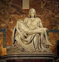絵画風 壁紙ポスター(はがせるシール式) ミケランジェロ ピエタ 1498-00年 サン・ピエトロ大聖堂 キャラクロ K-MLG-005S1 (585mm×612mm) 建築用壁紙+耐候性塗料