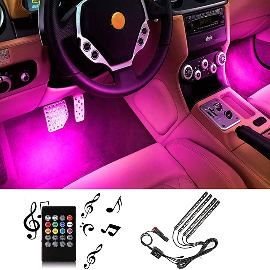 Sanhezhong Car LED Strip Light, 4pcs 48 LED DC 12V Multicolor Music Car Interior Light LED Under Dash Lighting Kit with Sound Active Function, Wireless Remote Control, Car Charger