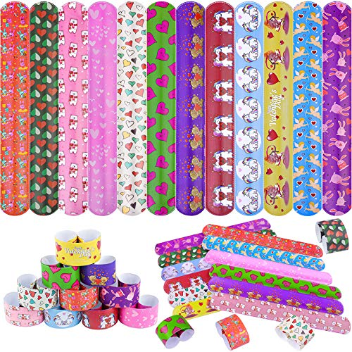 Ruisita 60 Pieces Slap Bracelets Valentines Day Wristband Kids School Valentine Gift Colorful Hearts and Unicorn Design Assorted Styles for Valentines Gift and Classroom Party Favor