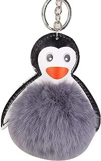 Sanwooden Cute Key Chain Lovely Penguin Faux Fur Ball Keyring Car Key Chain Handbag Hanging Decor Gift Girl Fashion Accessories