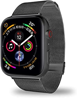 MCORS for Watch Band 44mm 42mm,Stainless Steel Mesh Metal Loop with Adjustable Magnetic Closure Replacement Bands for Iwatch Series 4 3 2 1 Black