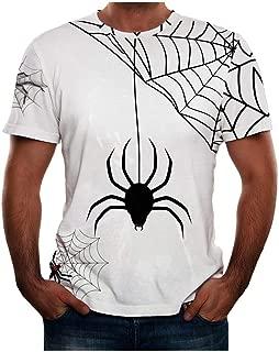 Men Halloween T-Shirts, Funny Print Lantern Pumpkin Ghost Spider O-Neck Short Sleeve Tops
