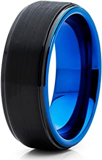 Silly Kings 8mm Blue Tungsten Wedding Band Anniversary Ring Black Tungsten Wedding Band
