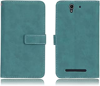 Sony Xperia C3 Case,Gloryshop 9 Card Slots Minimalist Matte Series PU Leather Wallet Flip Folio Protective Case Cover with Stand and Magnet Buckle for Sony Xperia C3 D2533, Blue