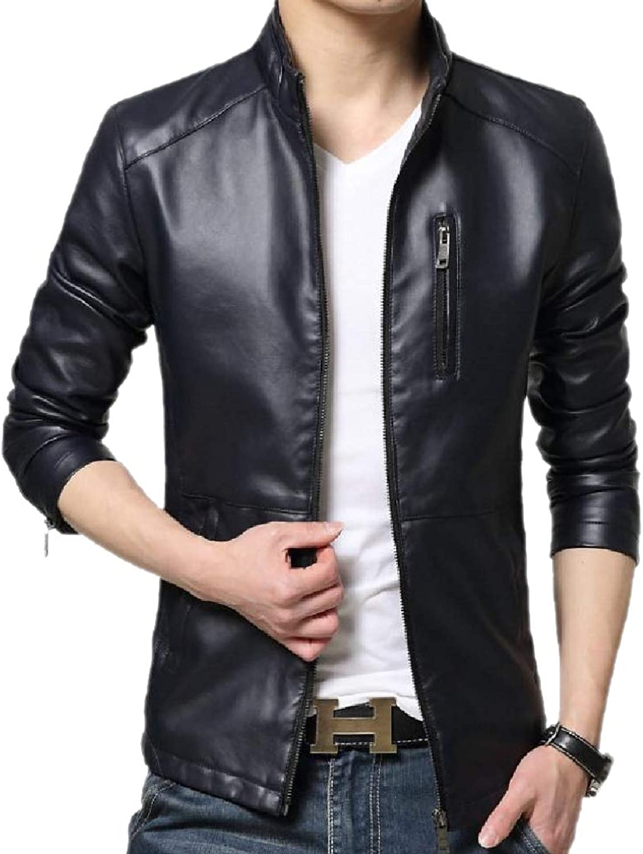 82c23c7ff5fdf Winwinus Men's Moto Biker Slim Casual No-Iron No-Iron No-Iron Leather Coat  Jacket e2191c