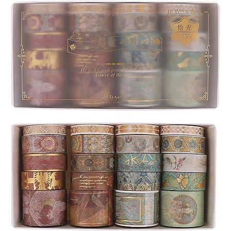 SUI-lim 20 Washi Tape Vintage Doré Papier Scrapbooking Masking Tape Artisanat de Bricolage Journal Emballage Rouleau Papier Cadeau