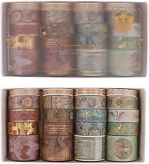 SUI-lim 20 Washi Tape Vintage Doré Papier Scrapbooking Masking Tape Artisanat de Bricolage Journal Emballage Rouleau Papie...