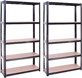 G-Rack 0011, 2 Bay 180cm x 90cm x 30cm, zwart 5 tier (175KG per plank), 875KG capaciteit garage schuur opslag rekken eenheden