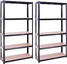 Rangement Garage: 180 cm x 90 cm x 30 cm | Deux unités, Noir - 5 Niveaux | 175 kg par tablette (Capacité Totale de 875 kg)...