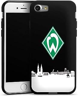DeinDesign Silikon Hülle kompatibel mit Apple iPhone 8 Case schwarz Handyhülle Offizielles Lizenzprodukt Skyline SV Werder Bremen
