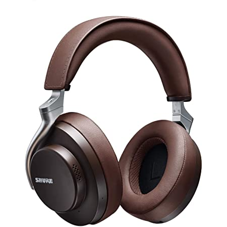 Shure AONIC 50 Wireless Noise Cancelling Headphones, Premium Studio-Quality Sound, Bluetooth 5 Wireless Technology, Comfort Fit Over Ear, 20 Hours Battery Life, Fingertip Controls - Brown