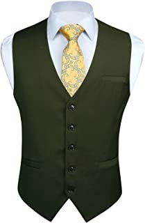 Men's Suit Vest Business Formal Dress Waistcoat Vest with 3 Pockets for Suit or Tuxedo