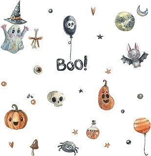 IARTTOP Halloween Magic Pumpkins Wall Decal,Cute Ghost Bat Wall Sticker for Kids Room Decoration, Halloween Party Supplies