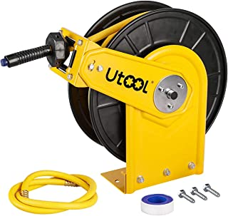 Air Hose Reel, Utool Auto Retractable Hose Reel with 3/8in.x50Ft. Hybrid Rubber Hose 3 Ft. Lead Hose 1 PTFE Tape Max. 300PSI