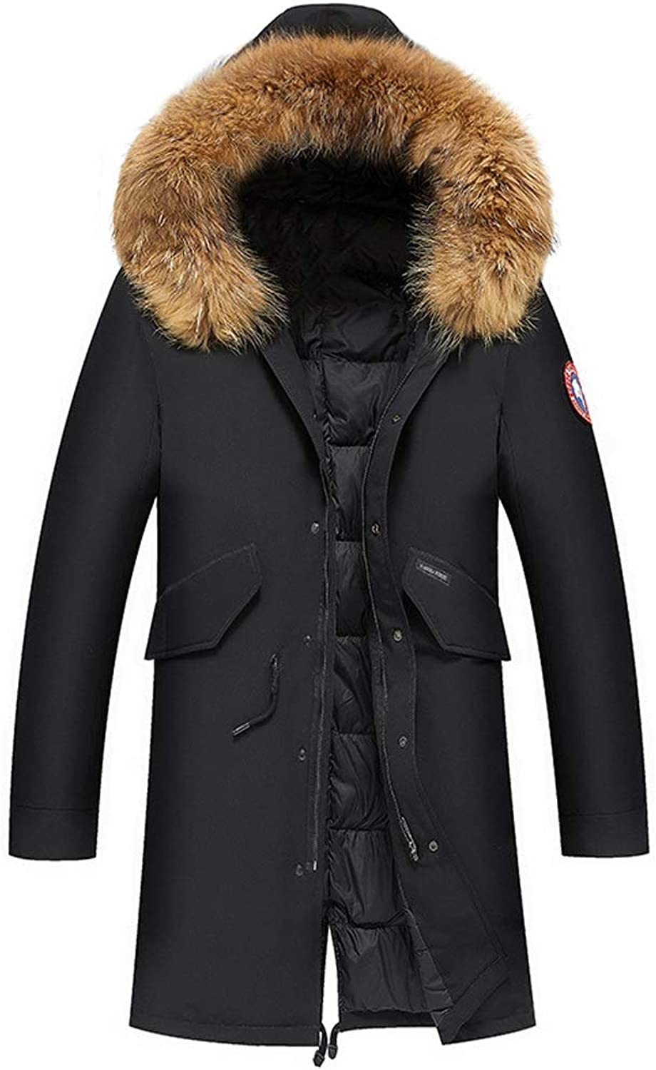 New Down Jacket, Men's Trend Long Hooded Jacket with Large Fur Collar, Winter Outdoor Cold Warm Clothing,Black (Size   XL)