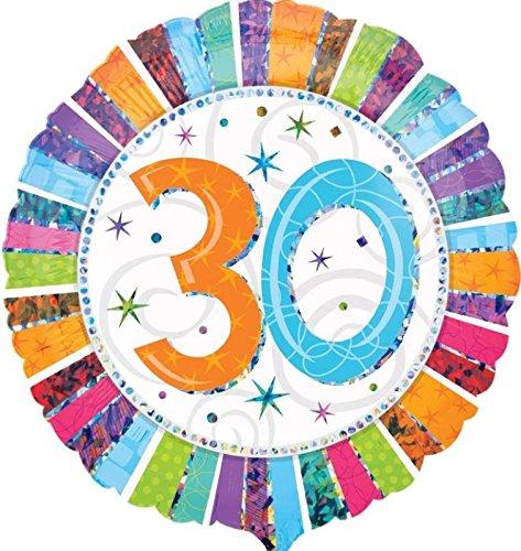 paduTec Folienballon Ballon geeignet zur befüllung mit Luft oder Helium Gas Ballongas - perfekt zum Geburtstag Jahrestag Jubiläum Hochzeitstag - Premium QUALITÄT (Bunt 30)