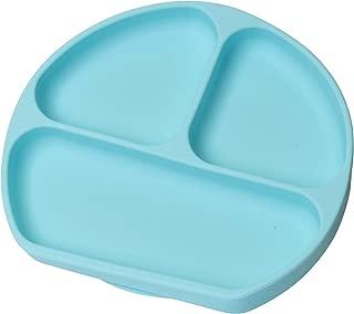 Irypulse Bebé Plato&Placemat Silicona Seccións Divididas Ventosa Fuerte Succión, Bandeja Infantil Grado Alimenticio Antideslizante Portátil FDA y Sin BPA-Azul claro