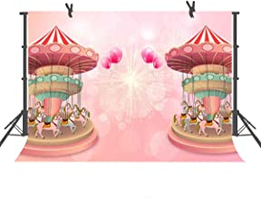 FUERMOR Pink Playground Carousel Photography Backdrop 7x5ft Birthday Party Background Newborn Shower Photo Props NANFU421