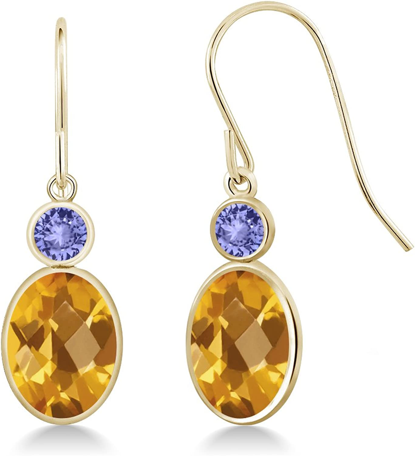 2.74 Ct Oval Checkerboard Yellow Citrine bluee Tanzanite 14K Yellow gold Earrings