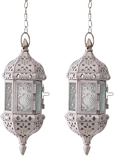 """GKanMore 2Pcs Hanging Candle Lantern Retro Moroccan Candle Holder Hollow Metal Glass Candle Holder Lantern with 15.7""""..."""