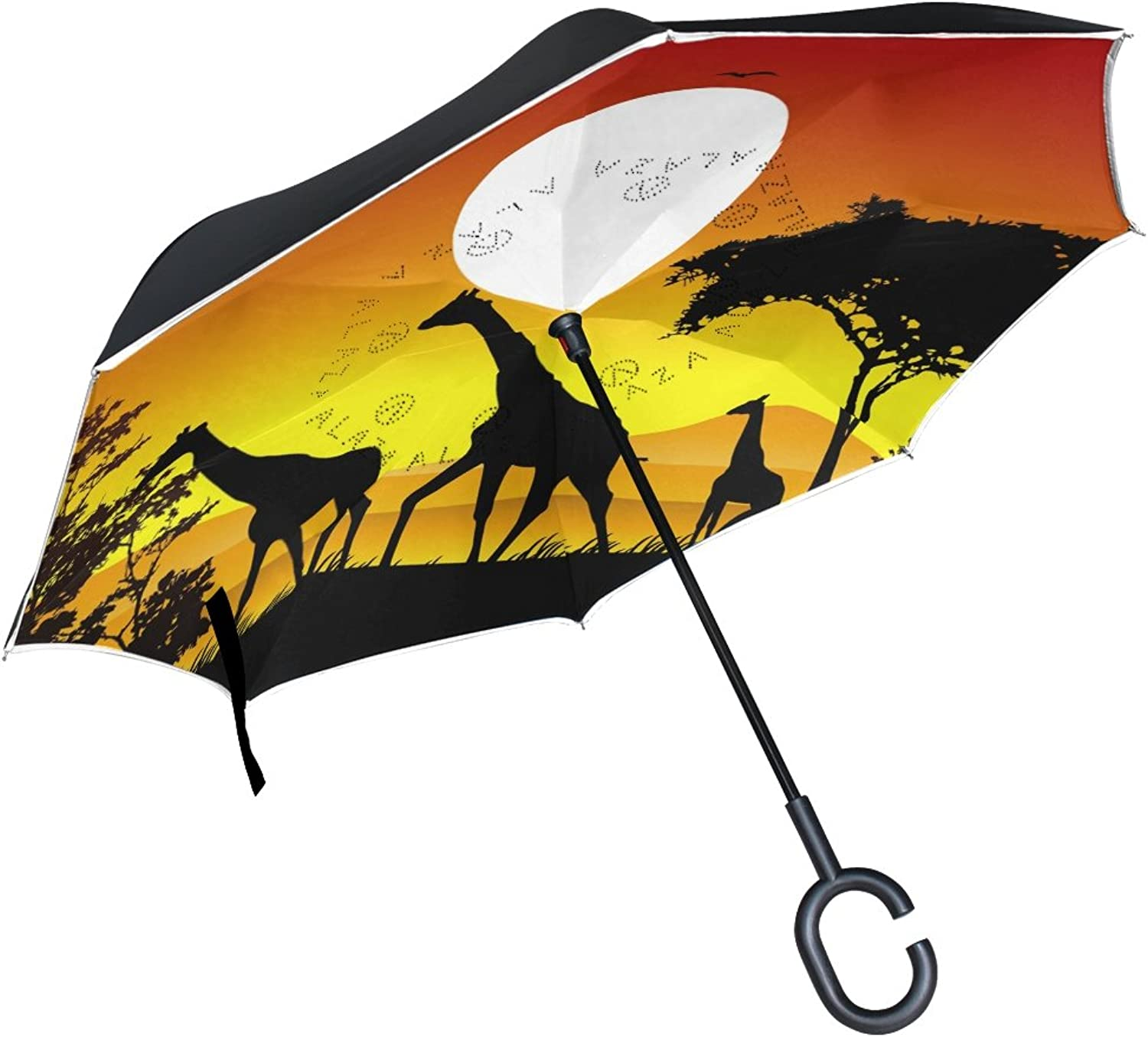 MASSIKOA Beauty Giraffe Trip Silhouettes With Landscape Ingreened Double Layer Straight Umbrellas Inside-Out Reversible Umbrella with C-Shaped Handle for Rain Sun Car Use