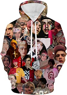 Men's 3D Print Lil Peep Plus Velvet Hooded Pocket Sweatshirt Sports Activities Cotton Sweater Hoodie