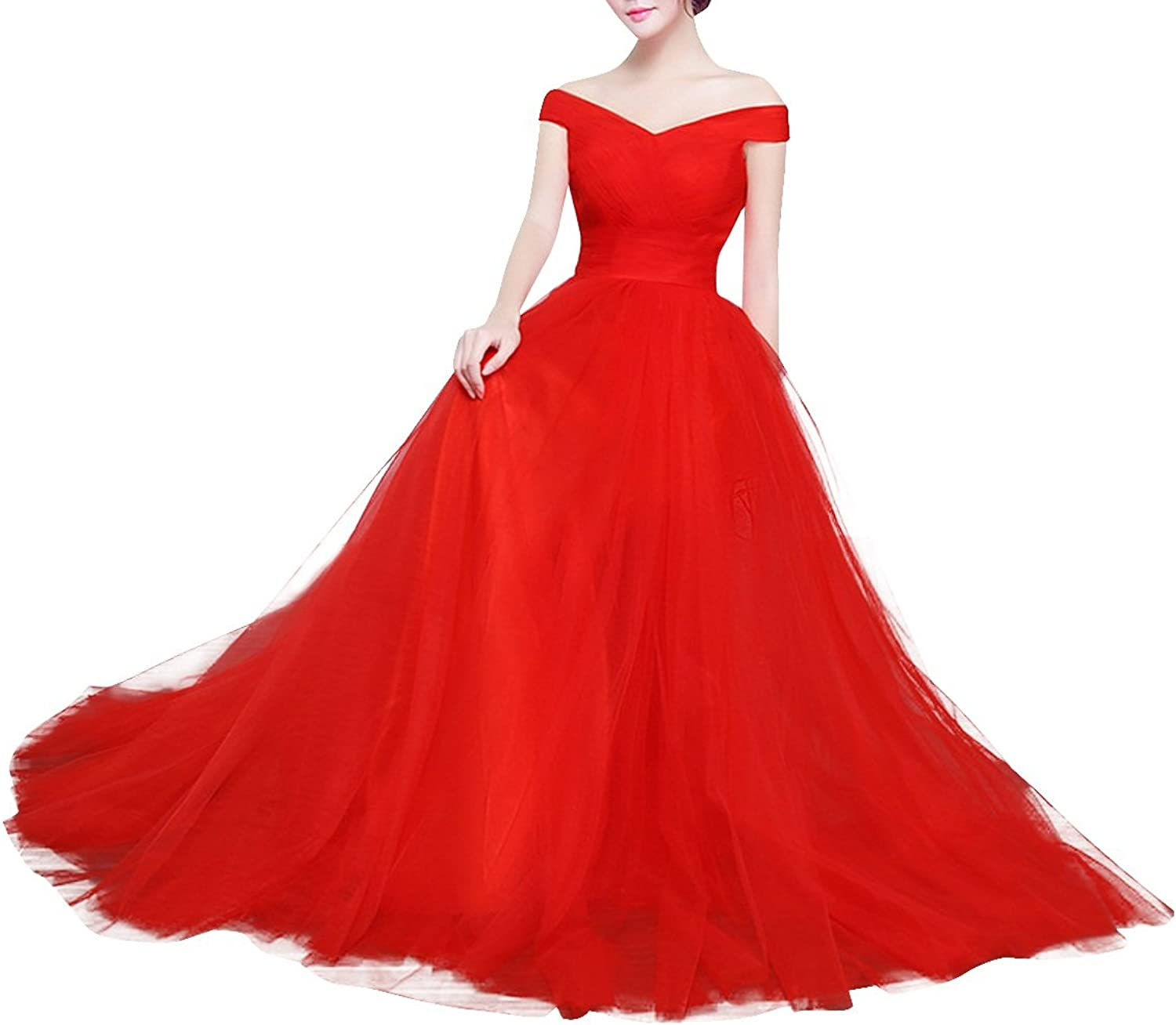Dasior Women's Ruched Off Shoulder Tulle Long Evening Prom Dress Laceup