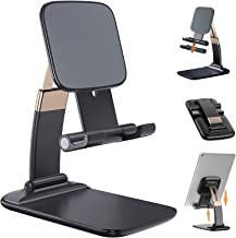 Cell Phone Stand,HUOTO Angle Height Adjustable Desktop Phone Holder Dock ,Thick Case Friendly Phone Holder Stand for Desk, Compatible with All Mobile Phones,iPhone,Switch,iPad,Tablet (Black)