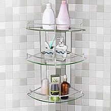 Warmiehomy półka narożna do łazienki, organizer, przybornik do toalety, półka ze szkła hartowanego, rama ze stali nierdzew...