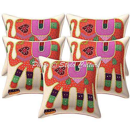 Stylo Culture Cojines Decorativos étnicos para la Cama de Color Naranja Apliques Fundas de cojín de Patchwork 40 X 40cm Cojín Cuadrado de Elefantes de algodón (5 Piezas)