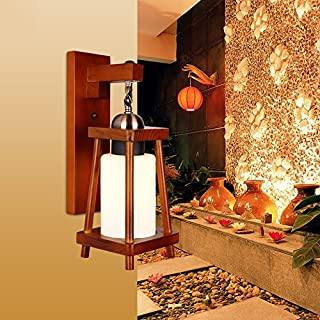 Single Modern Chinese Staircase Aisle Solid Wood Wall Lamp