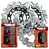 Sumo - Yamaha Front + Rear High Performance Stainless Steel Brake Disc Rotor + Pads Combo for YZF 600 R (R6) (1999-2002) / YZF R1 (2002-2003) Street Bike
